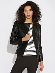cheap -Women's Daily Simple Casual Fall Leather Jacket,Solid Peaked Lapel Long Sleeve Short PU