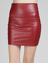 cheap -Women's Going out Club Mini Skirts,Sexy Bodycon PU Solid All Seasons