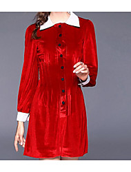 Feminino Evasê Vestido,Casual Fofo Sólido Colarinho de Camisa Acima do Joelho Manga Comprida Poliéster Outono Cintura Média Micro-Elástica