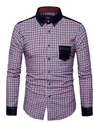 メンズ お出かけ カジュアル/普段着 シャツ,アジアン・エスニック シャツカラー チェック ポリエステル 長袖