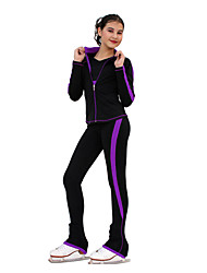 cheap -Figure Skating Jacket with Pants Women's / Girls' Ice Skating Tracksuit / Pants / Trousers / Top Fuchsia / Blue / Violet Spandex Inelastic