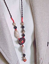 cheap -Women's Bohemian Bowknot Pendant Necklace  -  Vintage Bohemian Ethnic Circle Bowknot Beige Red Light Blue Necklace For Causal