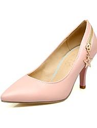 abordables -Femme Chaussures Similicuir Printemps / Automne Escarpin Basique Chaussures à Talons Talon Aiguille Bout pointu Noir / Beige / Rose