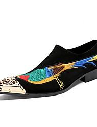 baratos -Homens Sapatos formais Couro Outono / Inverno Temática Asiática Oxfords Preto / Casamento / Festas & Noite / Sapatas de novidade