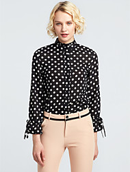 cheap -Women's Daily Going out Casual Winter Fall Blouse,Polka Dot Floral Stand Long Sleeves Polyester Medium
