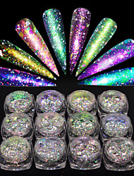 cheap -1set Broken Glass Effect Laser Holographic Chameleon Powder Nail Glitter Glitter Powder As Picture (color may vary by monitor) Nail Art