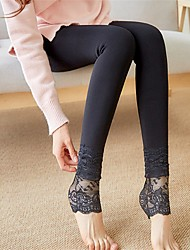 cheap -Women's Lace Nylon Thick Stitching Fleece Lined Legging,Solid Black