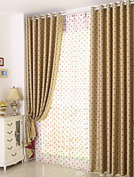 cheap -Rod Pocket Grommet Top Tab Top Double Pleat Pencil Pleat Curtain Kids and Teen , Jacquard Polka dots Bedroom Polyester Blend Material