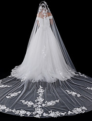 cheap -One-tier Modern Style Flower Style Accessories Lace Applique Edge Oversized Bridal Princess European Lace Wedding Wedding Veil Blusher