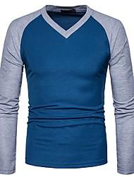 Masculino Camiseta Casual Temática Asiática Primavera Outono,Estampa Colorida Algodão Elastano Decote V Manga Comprida Média