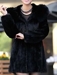 abordables -Manteau en Fourrure Femme,Couleur Pleine Sortie simple Hiver Manches longues Col Arrondi Longue Fausse Fourrure énorme
