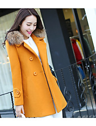 cheap -Women's Daily Casual Winter Coat,Solid V Neck Long Sleeve Regular Wool Oversized