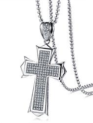 Недорогие -Муж. Кулоны Цирконий Крест Нержавеющая сталь Циркон На каждый день Cool Мода Бижутерия Назначение Повседневные Официальные
