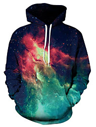 cheap -Men's Plus Size Hoodie - Galaxy Hooded