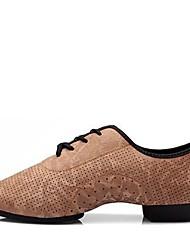 Недорогие -Жен. Обувь для джаза Наппа Leather На каблуках / С раздельной подошвой На плоской подошве Персонализируемая Танцевальная обувь Коричневый