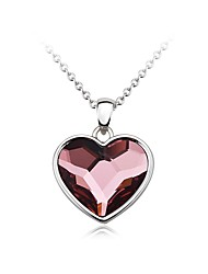 cheap -Women's Heart Crystal Cubic Zirconia Zircon Silver Plated Pendant Necklace Chain Necklace - Fashion Lovely Sweet Heart Silver Necklace
