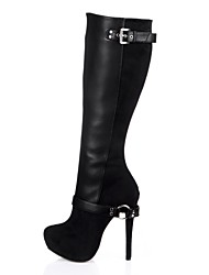 cheap -Women's Shoes PU Winter Fashion Boots Boots High Heel Round Toe Knee High Boots Buckle for Party & Evening Dress Ivory Black/Blue Red