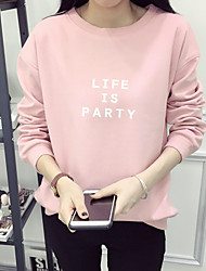 cheap -Women's Plus Size To-Go Simple Sweatshirt Letter Round Neck Without Lining Stretchy Polyester Long Sleeve Fall/Autumn