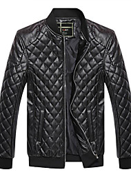cheap -Men's Work Leather Jacket - Solid Stand