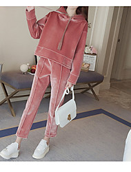cheap -Women's Casual/Daily Simple Winter Fall Hoodie Pant Suits,Solid Hooded Long Sleeve Rayon Micro-elastic