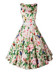 baratos -Mulheres Bainha Vestido Floral Cintura Alta