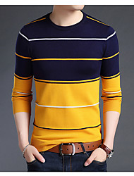 cheap -Men's Basic Long Sleeve Pullover - Striped, Print Round Neck