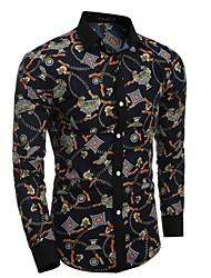 メンズ ワーク パーティー オールシーズン シャツ,カジュアル パンク&ゴシック シャツカラー チェック コットン 長袖