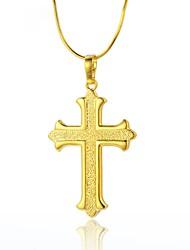 abordables -Hombre / Mujer Collares con colgantes / Collares de cadena - Chapado en Oro Cruz Básico Dorado Gargantillas Para Navidad, Calle