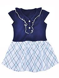 お買い得  -幼児 女の子 活発的 日常 / お出かけ グリッド / タータンチェック 半袖 コットン ドレス ネイビーブルー / キュート