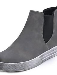 baratos -Mulheres Sapatos Couro Ecológico Inverno Conforto / Coturnos Botas Sem Salto Ponta Redonda Botas Cano Médio Preto / Cinzento