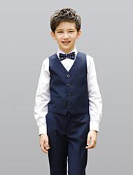 Недорогие -Бордовый Черный Темно-синий 100% хлопок Детский праздничный костюм - 4 Включает в себя Жилетка Рубашка Брюки Бабочка