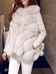 Недорогие -Для женщин На выход На каждый день Зима Осень Пальто с мехом V-образный вырез,Простой Однотонный Короткая Длинные рукава,Искусственный мех