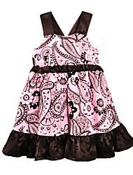 abordables -Robe Fille de Quotidien Sortie Fleur Avec motifs Coton Eté Sans Manches Mignon Actif Rose Claire