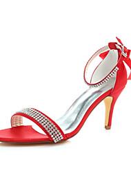 abordables -Femme Chaussures Satin Elastique Eté Escarpin Basique Chaussures de mariage Talon Aiguille Bout ouvert Cristal / Noeud Rouge