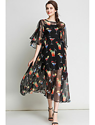 cheap -Women's Casual/Daily Simple Chiffon Dress,Print Round Neck Midi Half Sleeve Polyester Summer Mid Rise Micro-elastic Sheer Thin