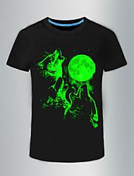 cheap -Men's Punk & Gothic Cotton T-shirt - Animal Print Round Neck