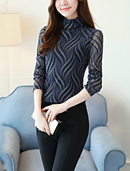 cheap -Women's Daily Going out Sexy Street chic Spring Fall BlouseStriped Turtleneck Long Sleeve Polyester Spandex Medium