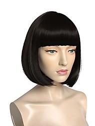 Недорогие -Парики из искусственных волос Естественные прямые С чёлкой Искусственные волосы Природные волосы / С Bangs Черный Парик Жен. Короткие