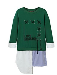 preiswerte -Damen Solide Patchwork Ausgehen Lässig/Alltäglich Einfach Pullover Standard Langarm Rundhalsausschnitt Winter Herbst