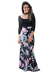 abordables -Femme Chic de Rue Ample Gaine Robe Couleur Pleine Fleur Taille haute Maxi