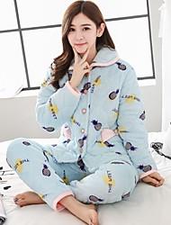 cheap -Women's Suits Pajamas,Print Print Cotton Blushing Pink Blue