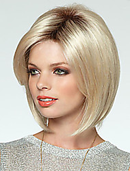 cheap -Synthetic Wig Straight With Bangs Synthetic Hair Side Part Blonde Wig Women's Medium Length Capless