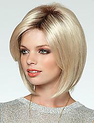 Недорогие -Парики из искусственных волос Прямой Блондинка С чёлкой Искусственные волосы Боковая часть Блондинка Парик Жен. Средние Без шапочки-основы