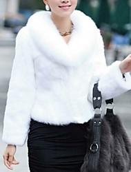 Недорогие -Для женщин На каждый день Зима Осень Пальто с мехом V-образный вырез,Простой Однотонный Короткая Длинные рукава,Искусственный мех,Меховая