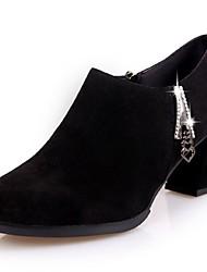 Недорогие -Для женщин Обувь Полиуретан Зима Удобная обувь Армейские ботинки Ботинки Блочная пятка Круглый носок Ботинки для Повседневные Черный