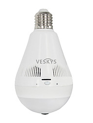 economico -veskys® ip camera 360 gradi fish eye 3.0mp wireless wi-fi panorama lampada a forma di lampadina lnfrared e luce bianca