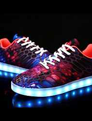 cheap -Women's Shoes Fabric / PU(Polyurethane) Fall / Winter Light Soles / Light Up Shoes Sneakers Low Heel Round Toe Purple / Red / Green