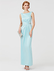 Sheath / Column Jewel Neck Ankle Length Polyester Mother of the Bride Dress with Crystal Detailing Side Draping by LAN TING BRIDE®