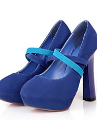 cheap -Women's Shoes Nubuck leather Spring / Fall Comfort / Novelty Heels High Heel Pointed Toe / Round Toe Buckle Black / Blue / Pink / Wedding