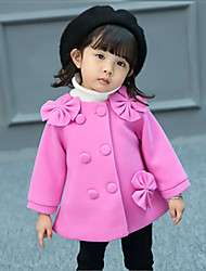 cheap -Girls' Daily Solid Jacket & Coat,Polyester Long Sleeves Cute Fuchsia Blushing Pink Red
